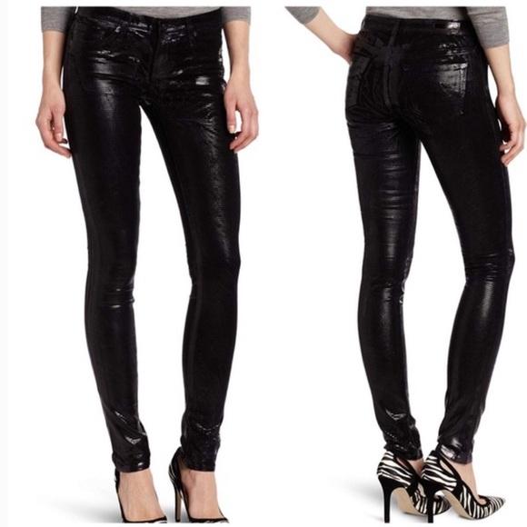 Ag Adriano Goldschmied Denim - AG Geonetric Metallic Foil Legging skinny Jeans